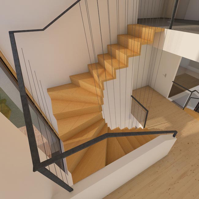 Architecture: steelwire as railing for stairs