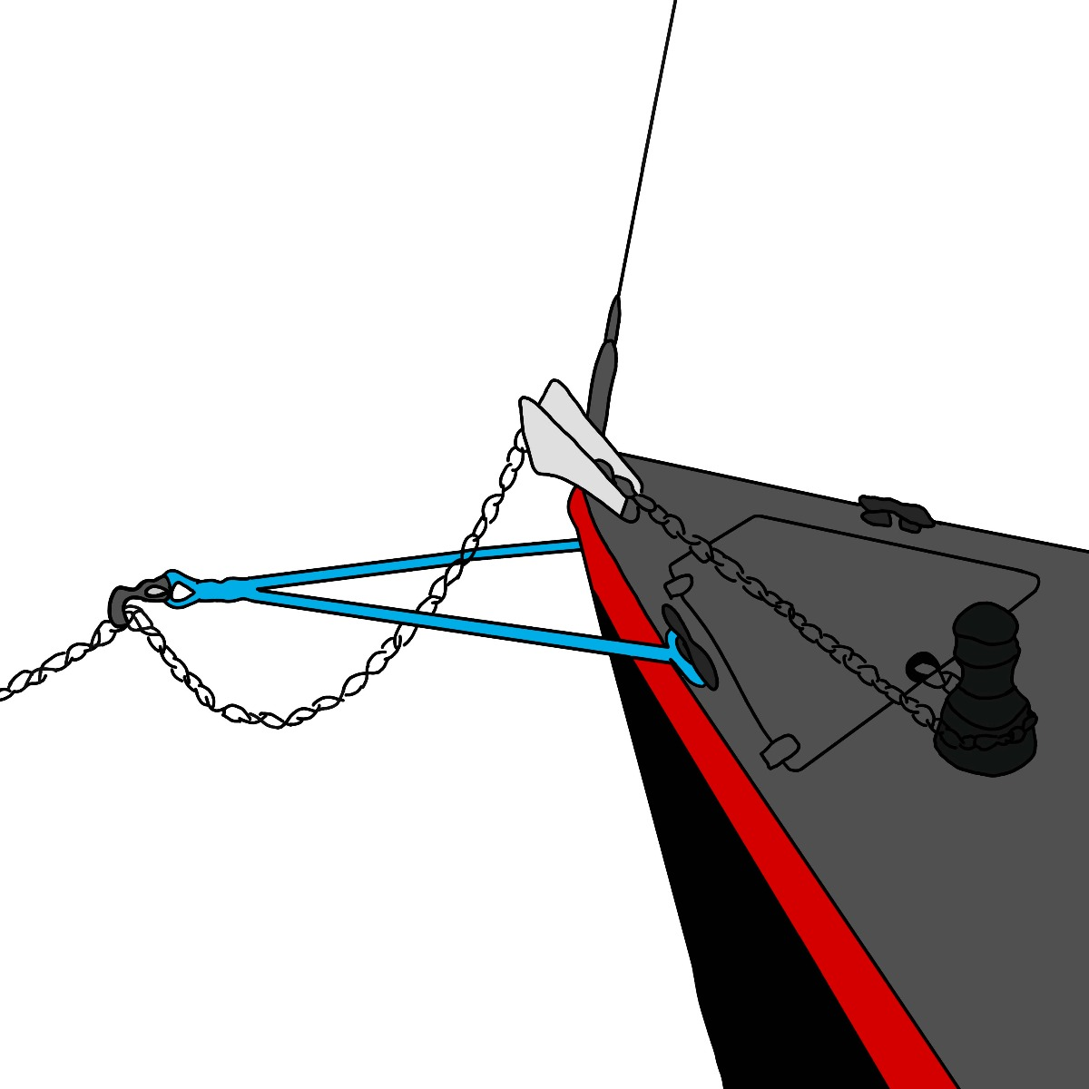 Snubber line with wichard anchor hook
